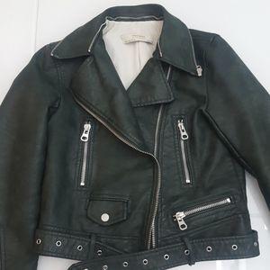 Zara Green Faux Leather Moto Jacket Sz Small